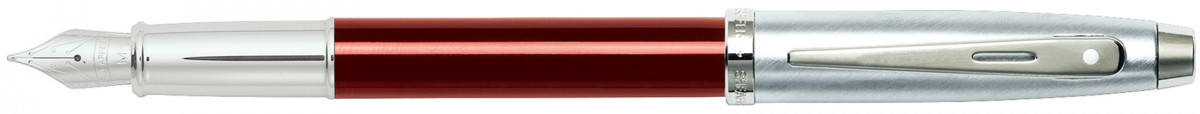 Sheaffer 100 Fountain Pen - Translucent Red Brushed Chrome