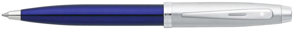 Sheaffer 100 Ballpoint Pen - Translucent Blue Brushed Chrome