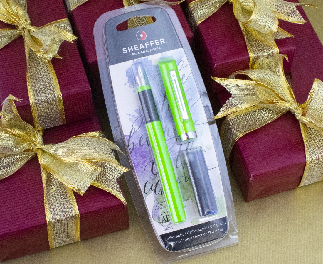Sheaffer Calligraphy Pen - Lime Green - Broad Nib