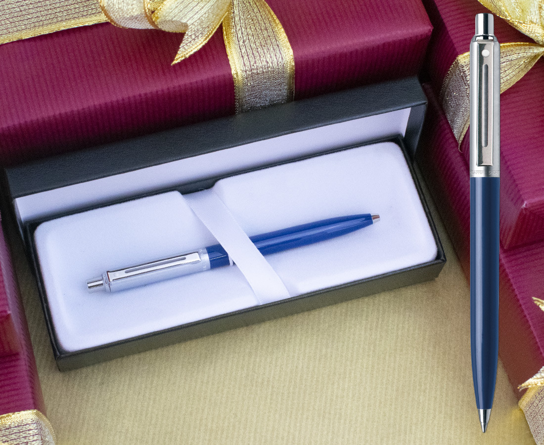 Sheaffer Sentinel Ballpoint Pen - Blue Nickel Trim
