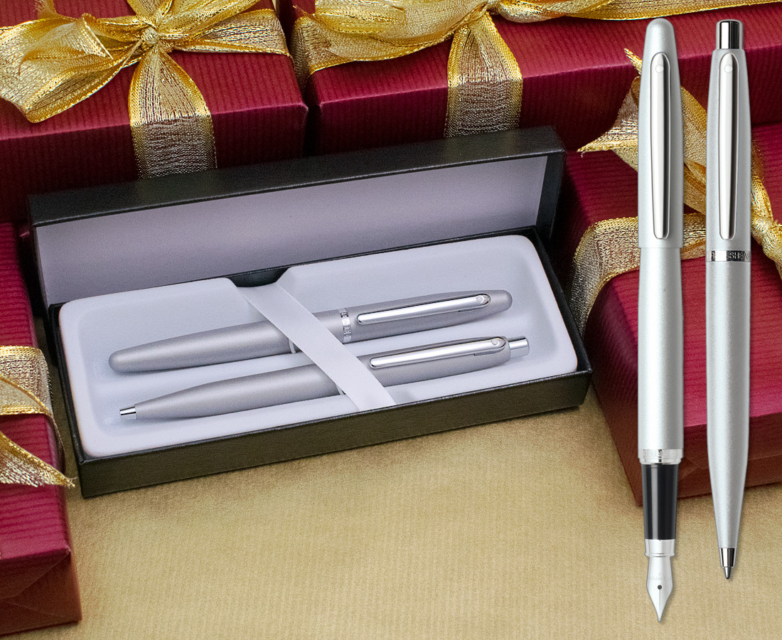 Sheaffer VFM Fountain & Ballpoint Pen Set - Strobe Silver Chrome Trim