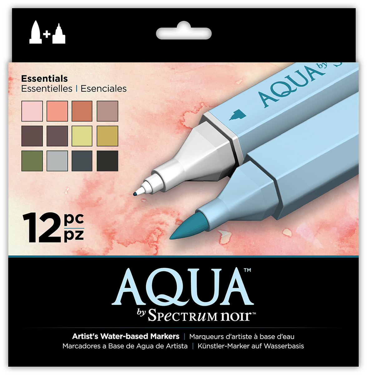 Spectrum Noir Aqua Watercolour Markers - Essentials (Pack of 12)