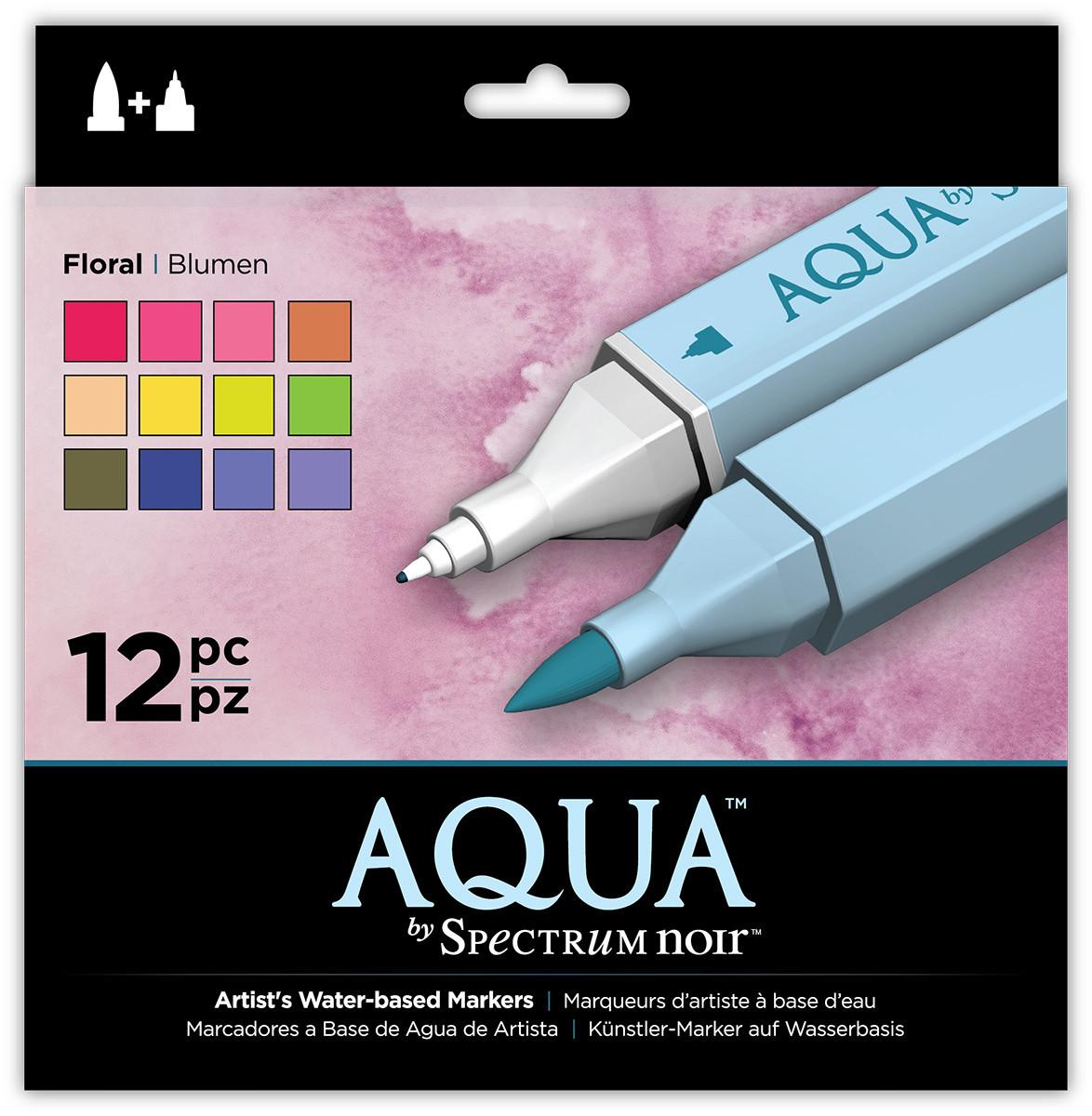 Spectrum Noir Aqua Watercolour Markers - Floral (Pack of 12)