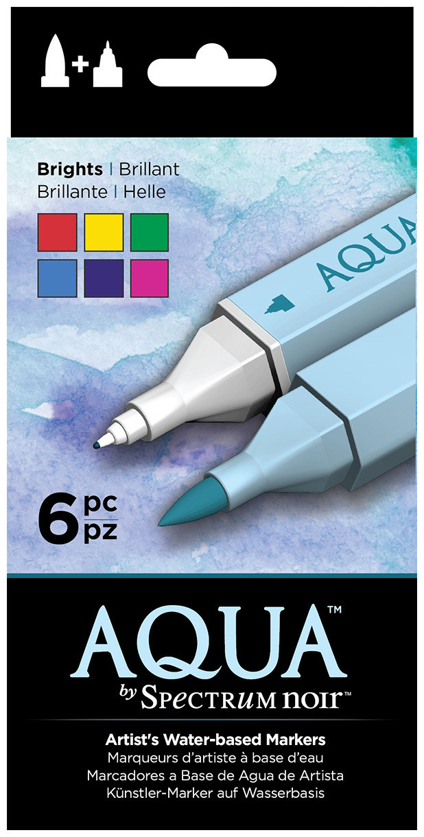 Spectrum Noir Aqua Watercolour Markers - Brights (Pack of 6)