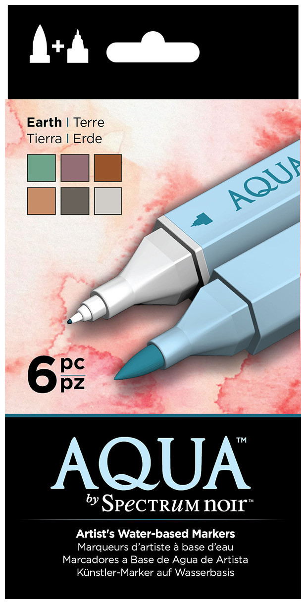 Spectrum Noir Aqua Watercolour Markers - Earth (Pack of 6)