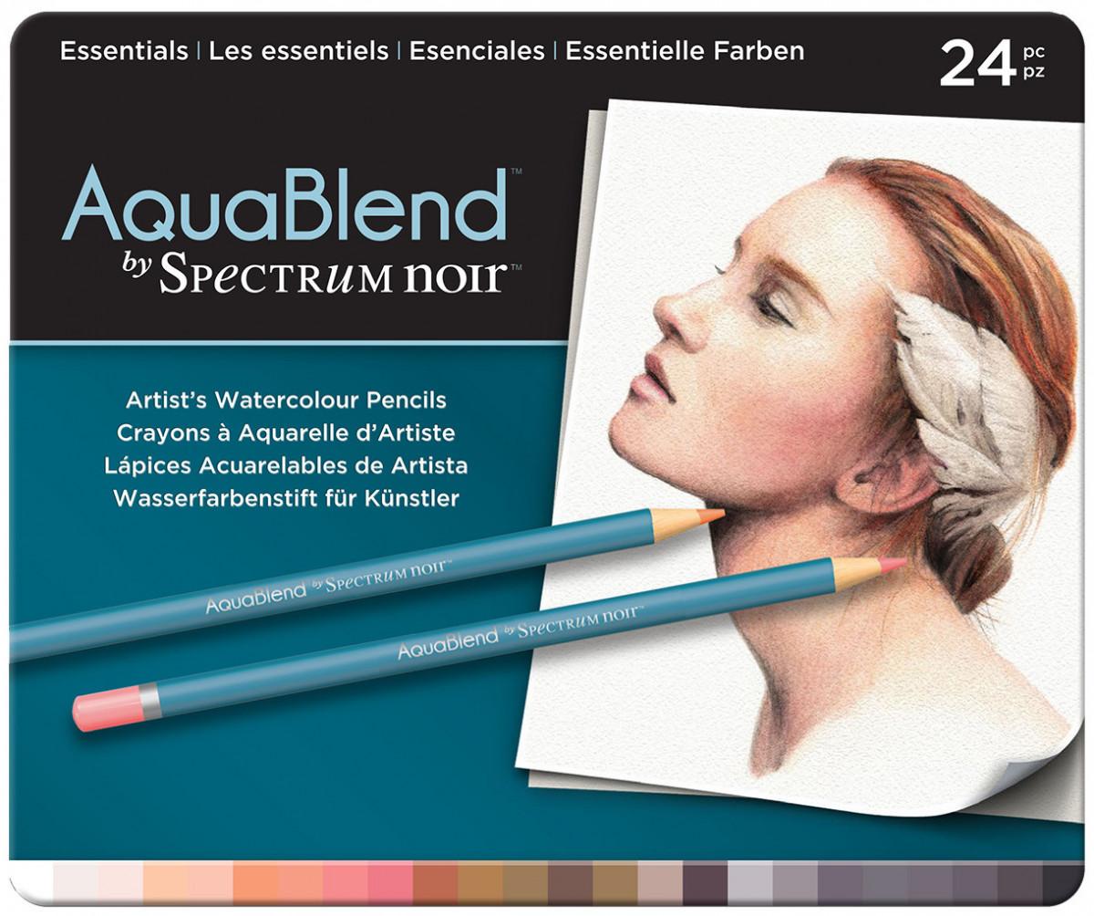 Spectrum Noir AquaBlend Watercolour Pencils - Essentials (Tin of 24)