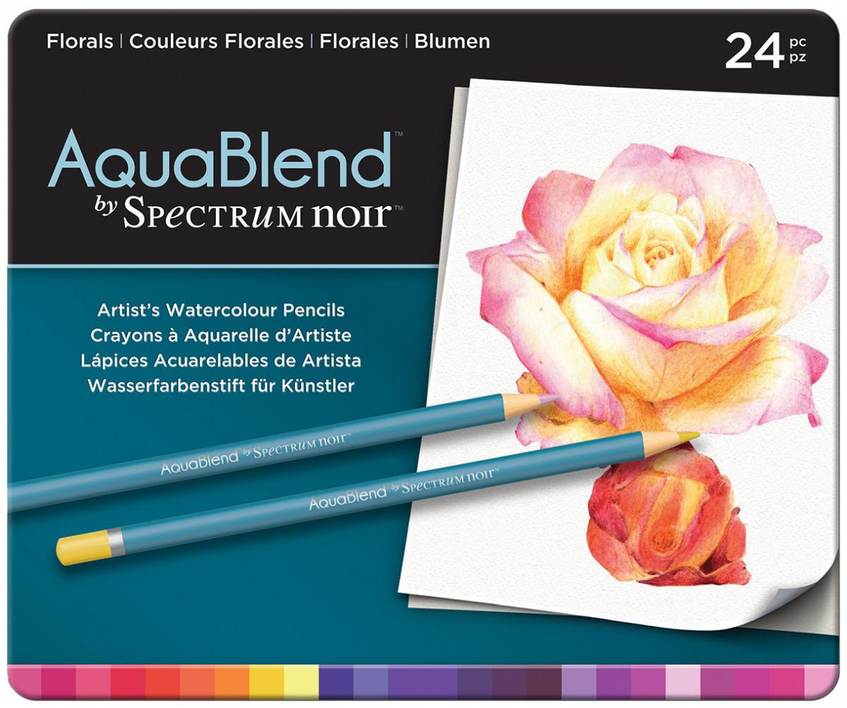 Spectrum Noir AquaBlend Watercolour Pencils - Florals (Tin of 24)