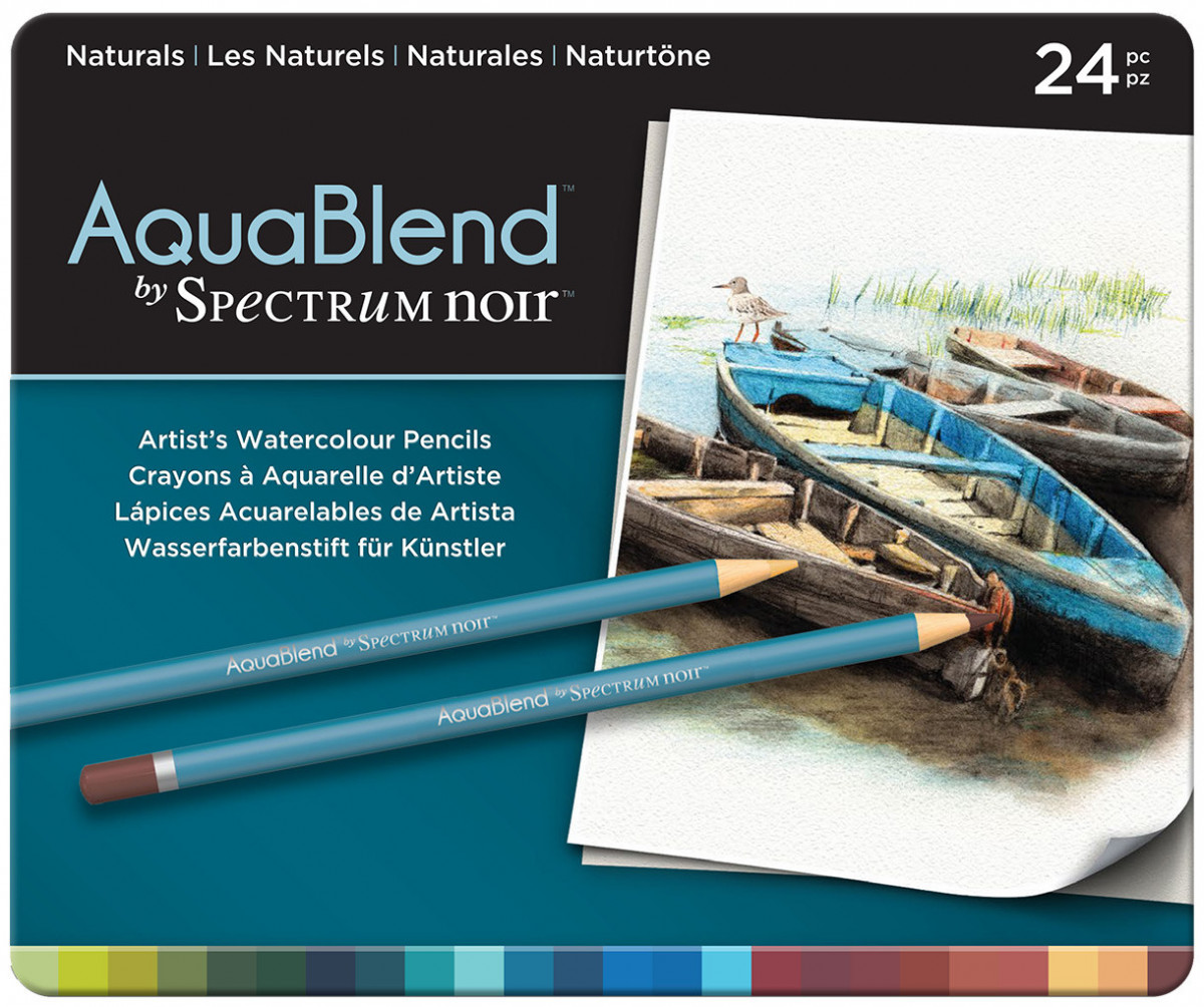 Spectrum Noir AquaBlend Watercolour Pencils - Naturals (Tin of 24)