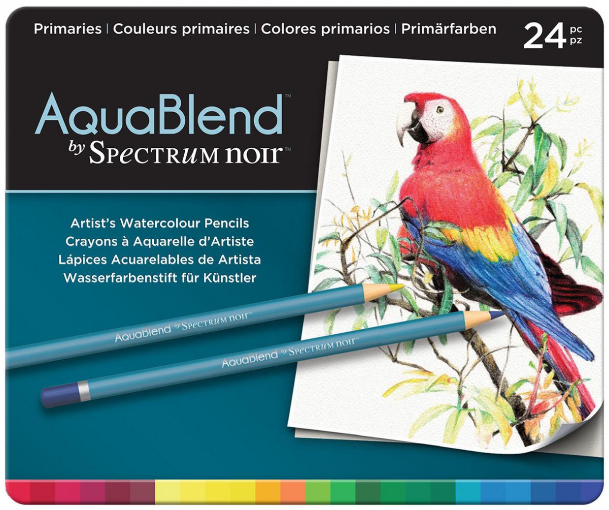 Spectrum Noir AquaBlend Watercolour Pencils - Primaries (Tin of 24)