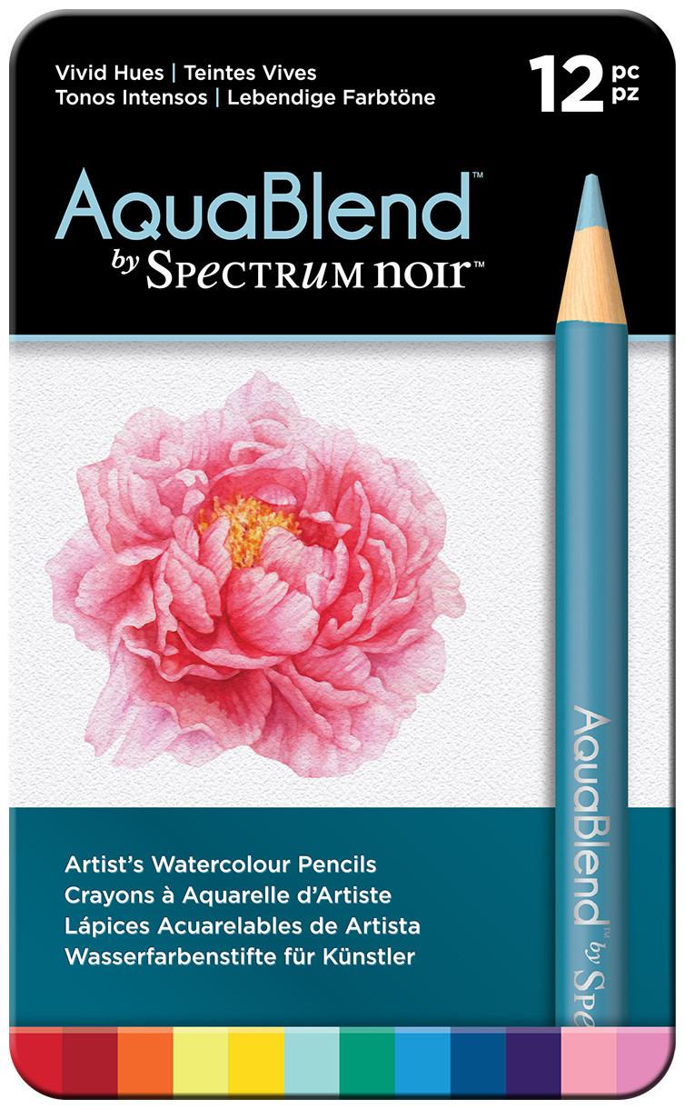 Spectrum Noir AquaBlend Watercolour Pencils - Vivid Hues (Tin of 12)