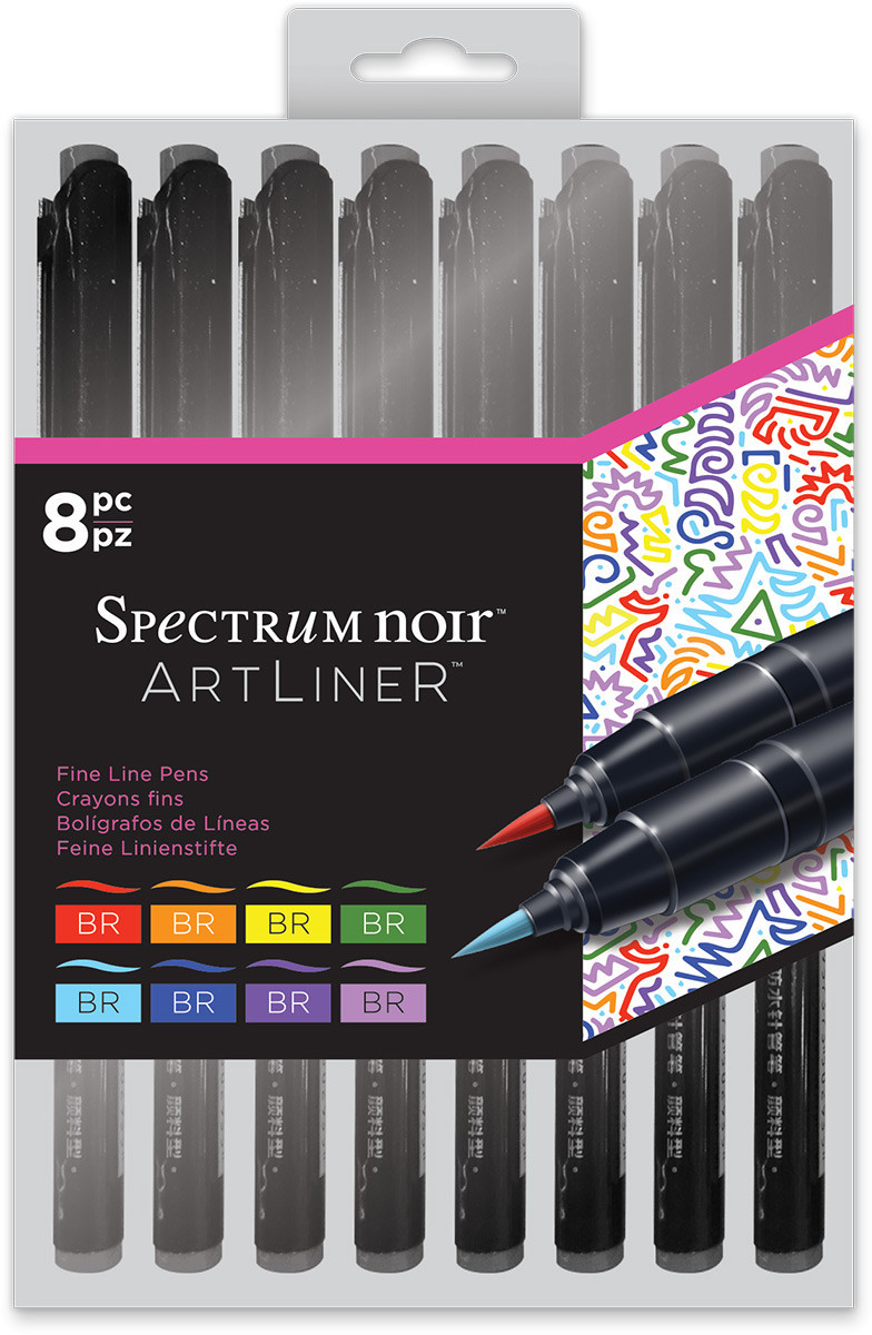 Spectrum Noir Artliner Brush Pens - Bright (Pack of 8)