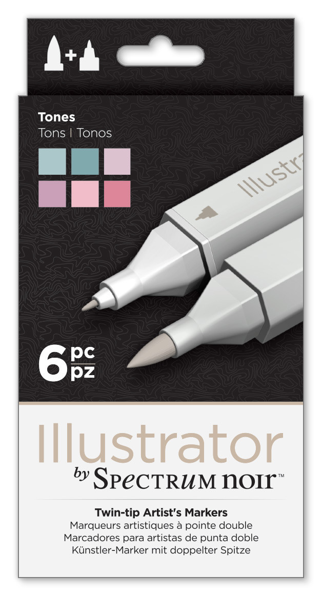 Spectrum Noir Illustrator Markers - Tones (Pack of 6)