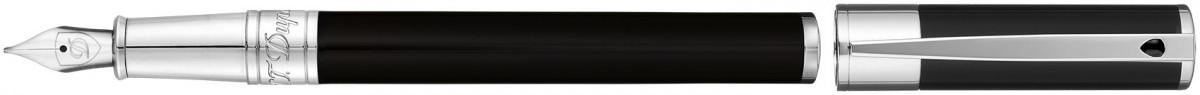 S.T. Dupont D-Initial Fountain Pen - Black Lacquer Chrome Trim