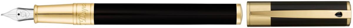 S.T. Dupont D-Initial Fountain Pen - Black Lacquer Gold Trim