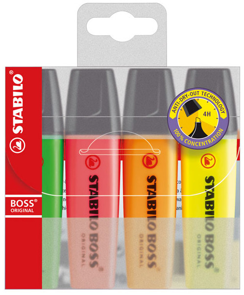 Stabilo BOSS Original Highlighter Pen - Assorted Colours (Pack of 4)