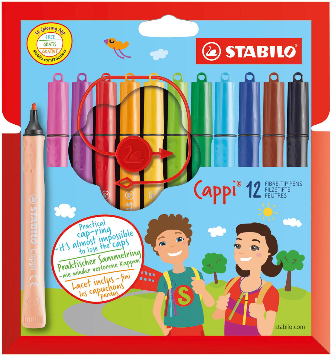 Stabilo Cappi Colouring Pens - Assorted Colours (Pack of 12)