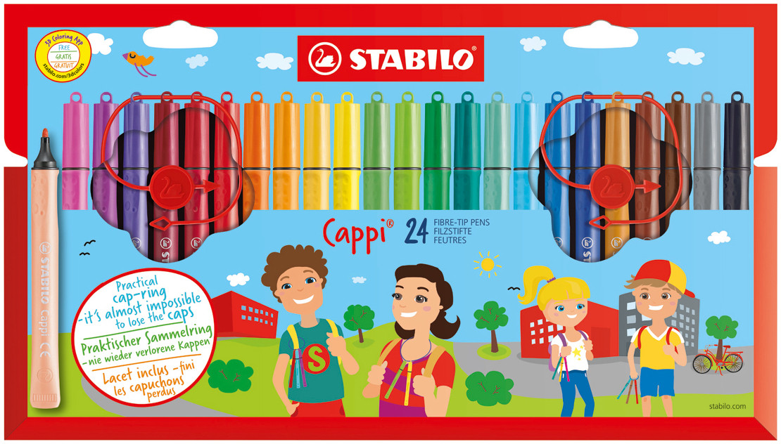 Stabilo Cappi Colouring Pens - Assorted Colours (Pack of 24)