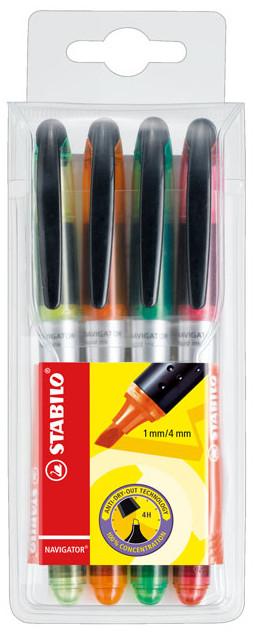 Stabilo Navigator Highlighter Pen - Assorted Colours (Pack of 4)