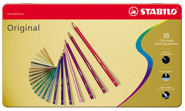 Stabilo Original Colouring Pencils - Assorted Colours (Tin of 38)