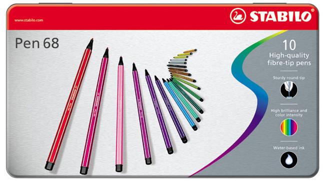 Stabilo Pen 68 Fibre Tip Pen - Assorted Colours (Tin of 10)