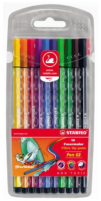Stabilo Pen 68 Fibre Tip Pen - Assorted Colours (Wallet of 10)