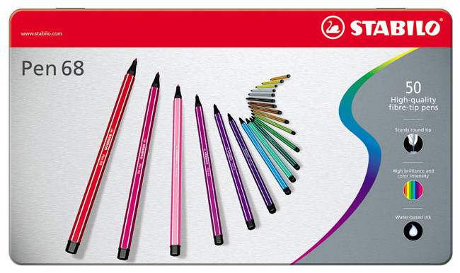 Stabilo Pen 68 Fibre Tip Pen - Assorted Colours (Tin of 50)