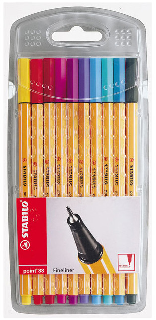 Stabilo point 88 Fineliner Pen - Assorted Fun Colours (Pack of 10)