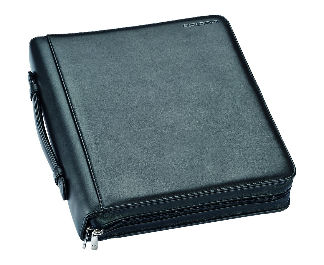 Staedtler Premium Leather Writing Case with Zipper - A4 Black