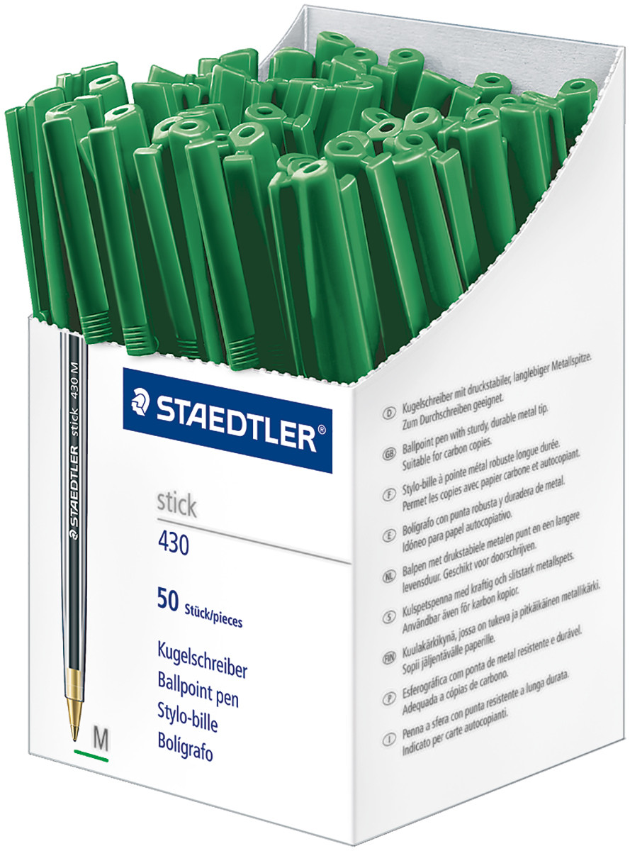 Staedtler 430 Stick Ballpoint Pen - Medium - Green - Box of 50