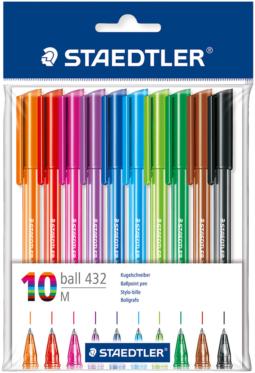 Staedtler 430 Stick Ballpoint Pen - Medium - Assorted Colours (Pack of 10)