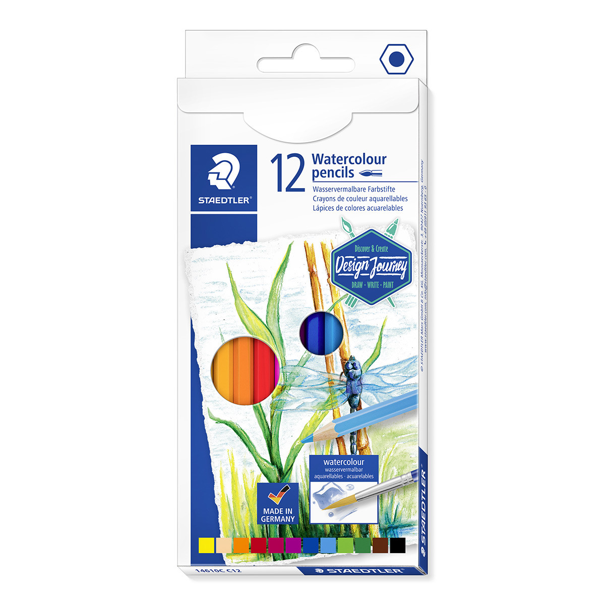 Staedtler Design Journey Watercolour Pencils - Assorted Colours (Pack of 12)
