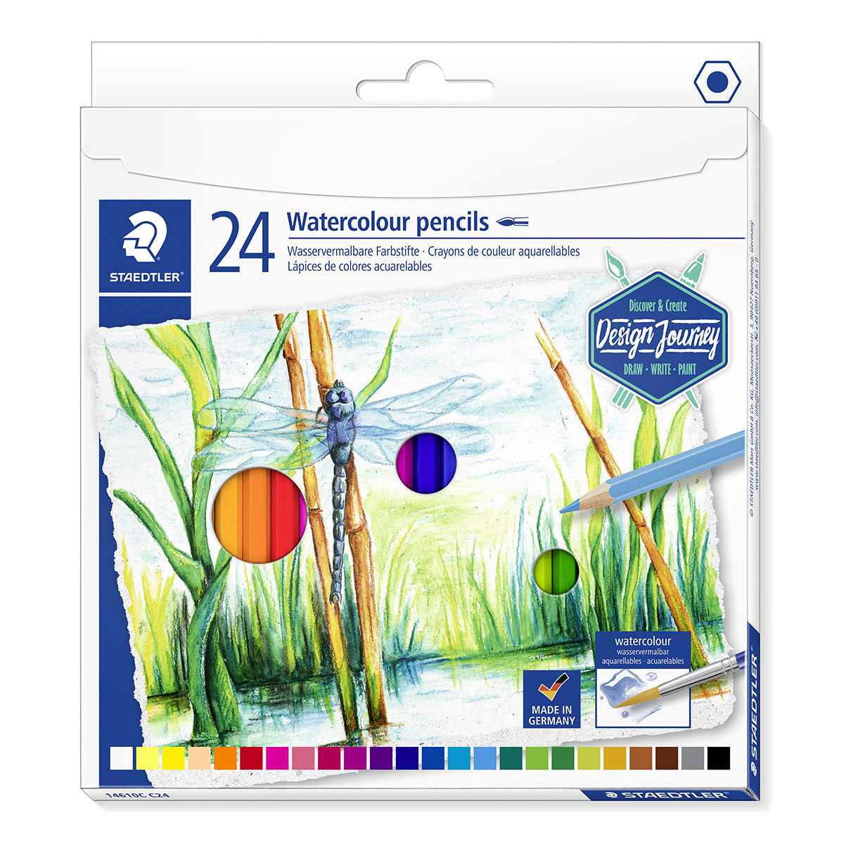 Staedtler Design Journey Watercolour Pencils - Assorted Colours (Pack of 24)