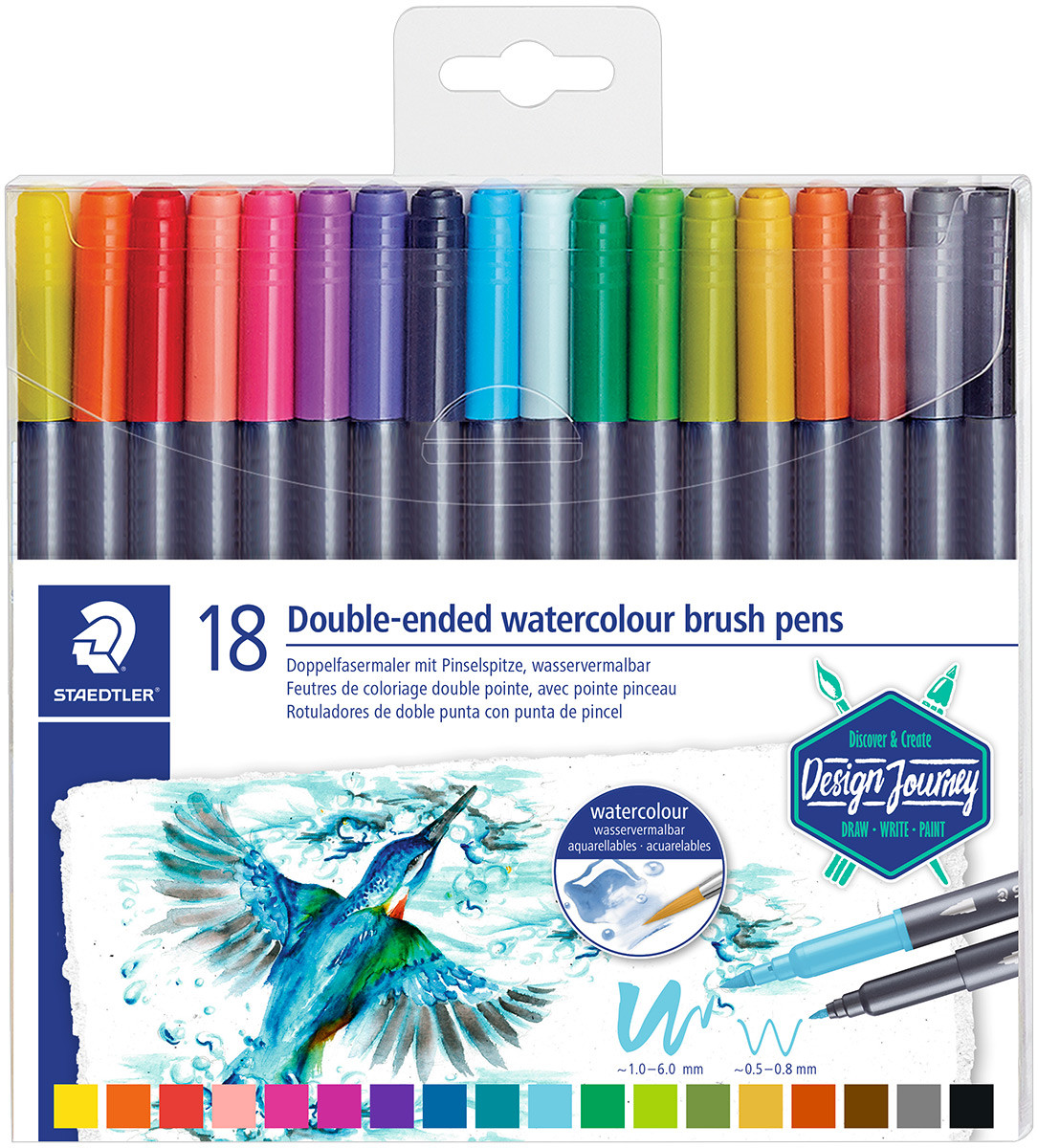 Staedtler Double Ended Watercolour Brush Pen - Assorted Colours (Pack of 18)