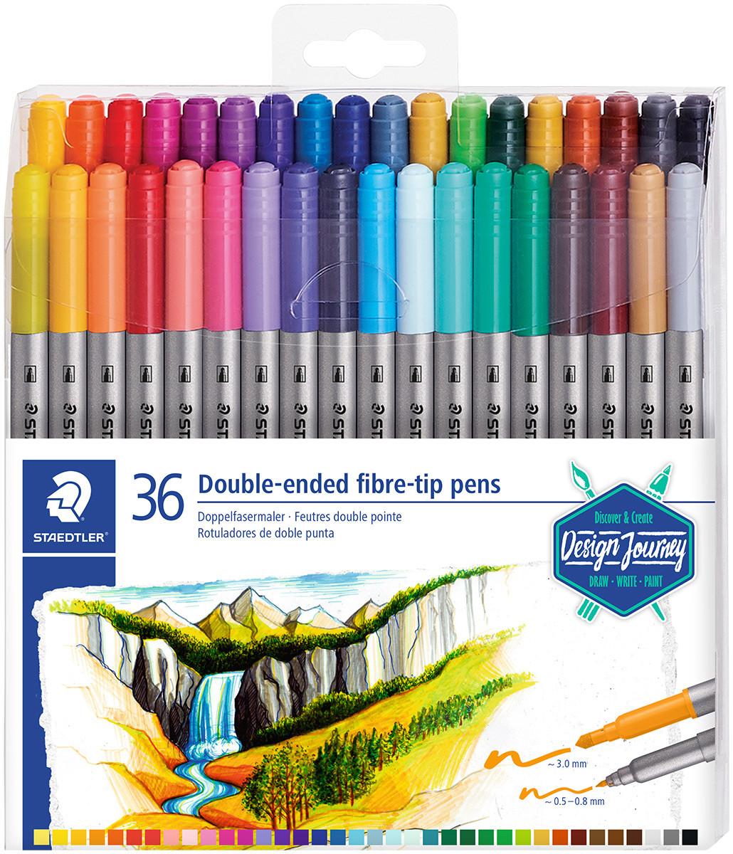 Staedtler Double Ended Fibre Tip Pens - Assorted Colours (Wallet of 36)