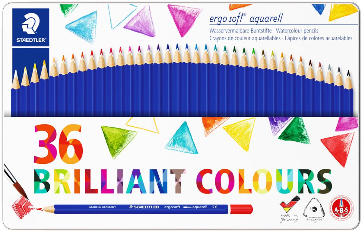 Staedtler Ergosoft Aquarell Triangular Watercolour Pencils - Assorted Colours (Tin of 36)
