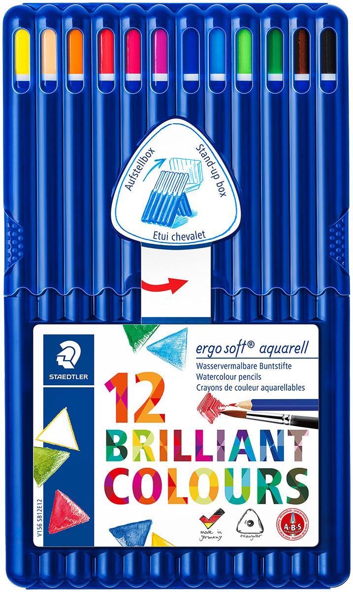 Staedtler Ergosoft Aquarell Triangular Watercolour Pencils - Assorted Colours (Pack of 12)