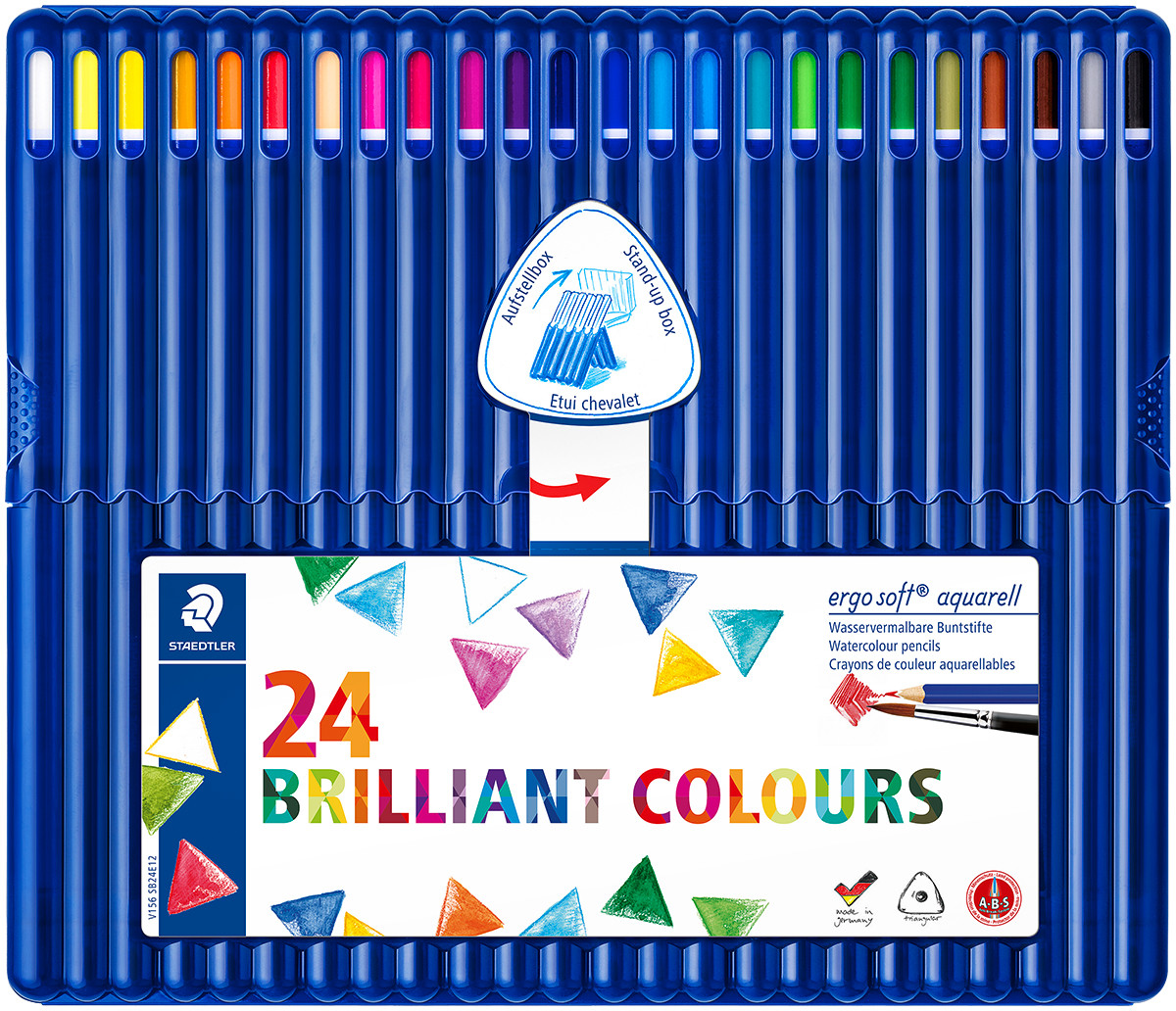 Staedtler Ergosoft Aquarell Triangular Watercolour Pencils - Assorted Colours (Pack of 24)