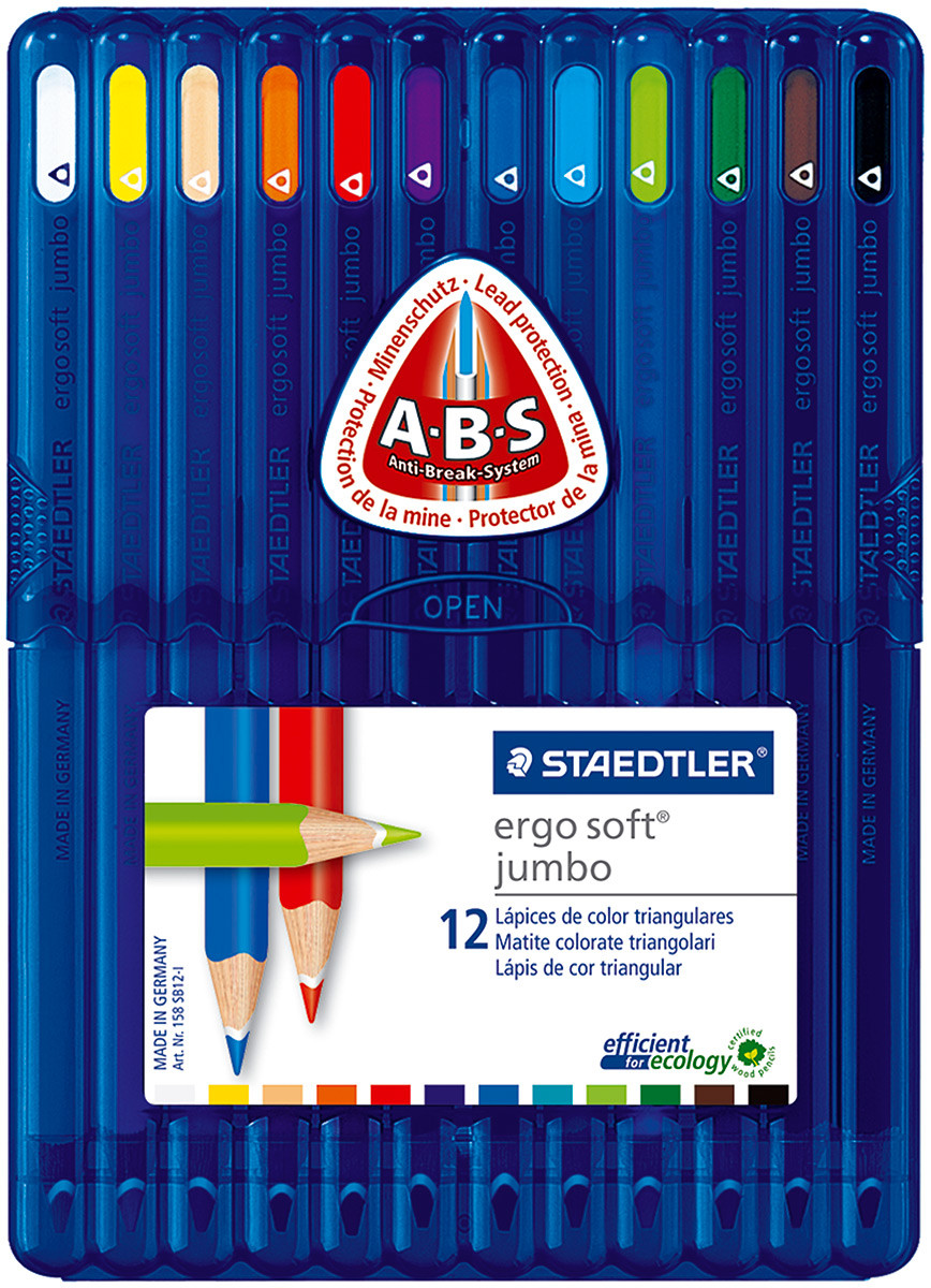 Staedtler Ergosoft Jumbo Triangular Coloured Pencils - Assorted Colours (Pack of 12)