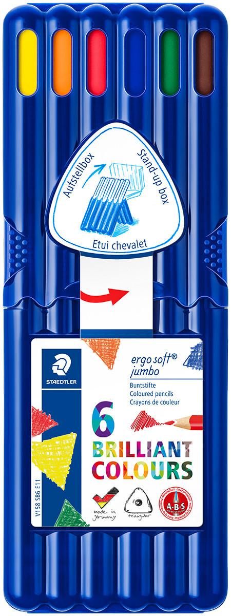 Staedtler Ergosoft Jumbo Triangular Coloured Pencils - Assorted Colours (Pack of 6)