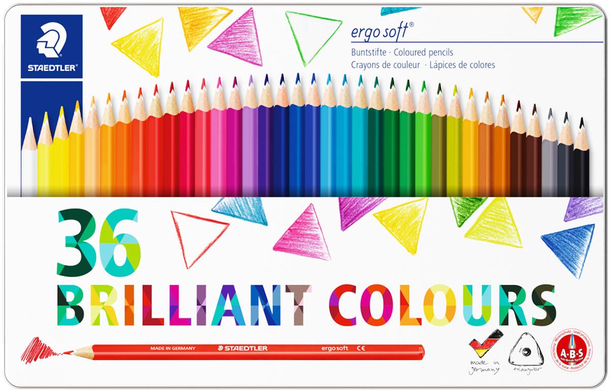 Staedtler Ergosoft Triangular Coloured Pencils - Assorted Colours (Tin of 36)