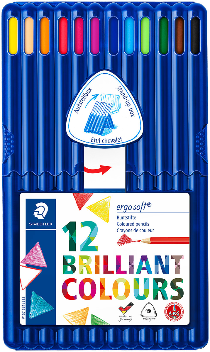 Staedtler Ergosoft Triangular Coloured Pencils - Assorted Colours (Pack of 12)