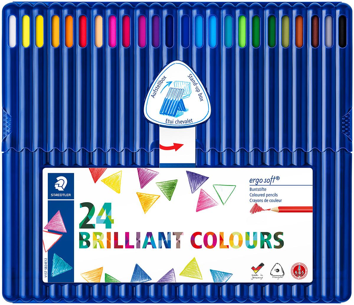 Staedtler Ergosoft Triangular Coloured Pencils - Assorted Colours (Pack of 24)