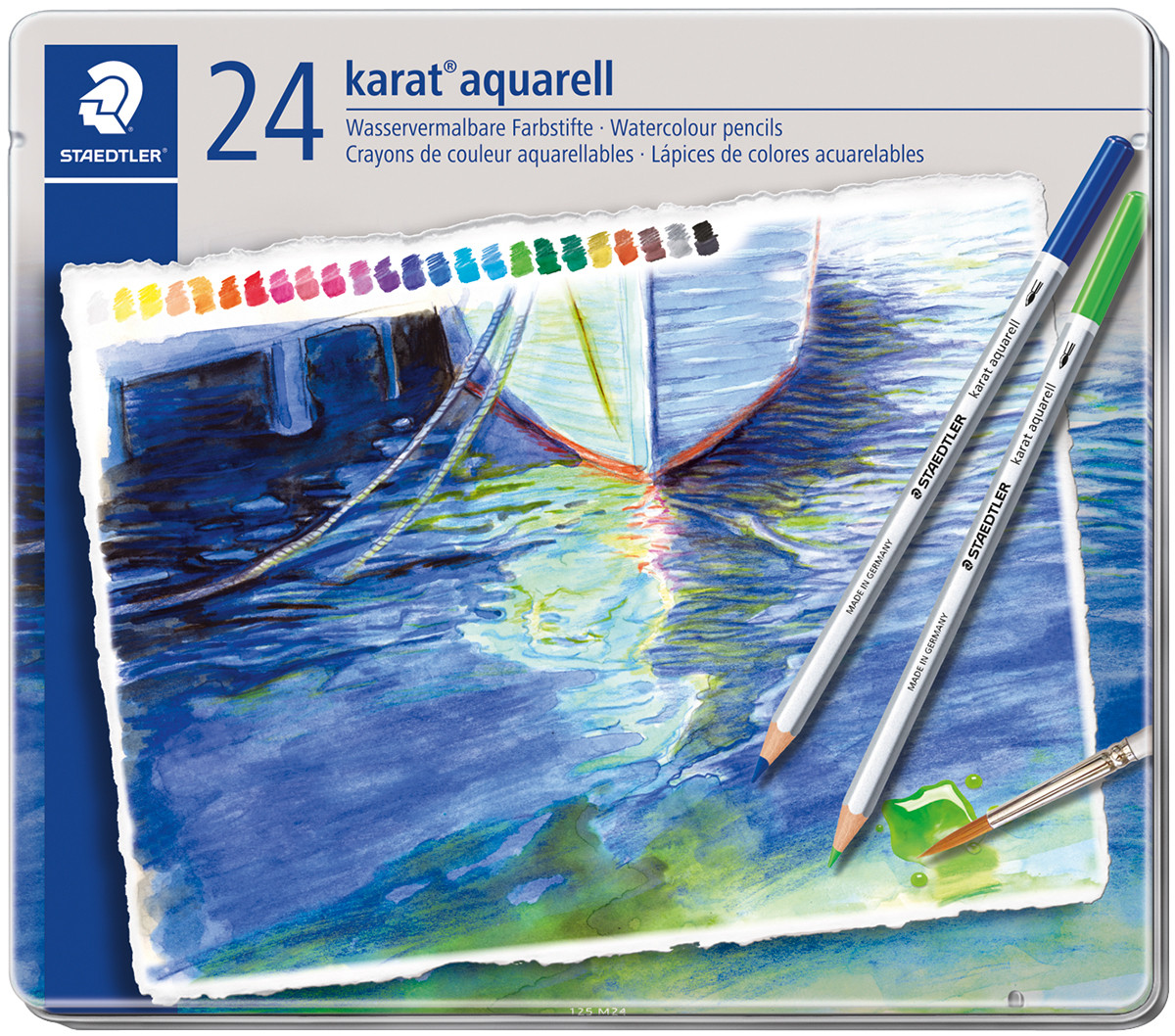 Staedtler Karat Aquarell Watercolour Pencils - Assorted Colours (Tin of 24)