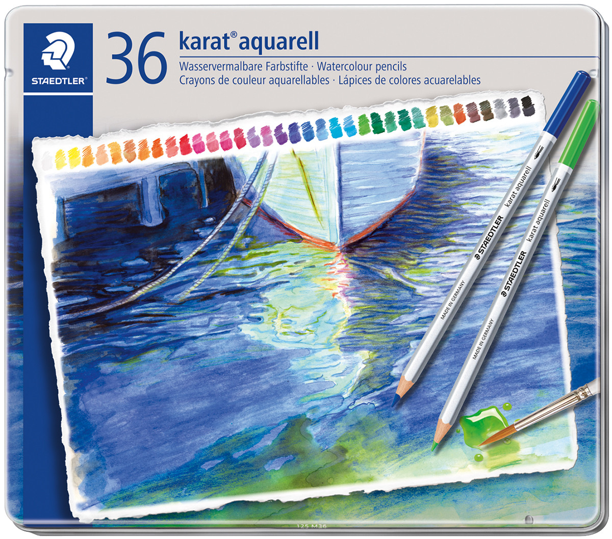 Staedtler Karat Aquarell Watercolour Pencils - Assorted Colours (Tin of 36)
