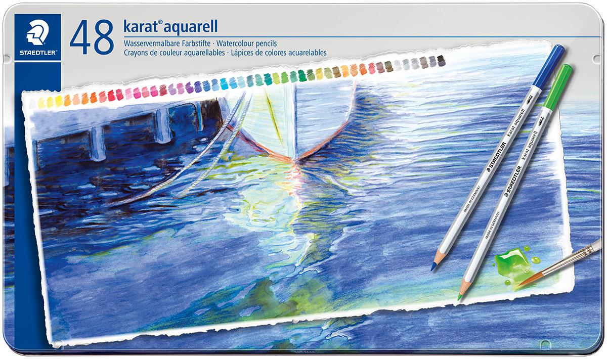 Staedtler Karat Aquarell Watercolour Pencils - Assorted Colours (Tin of 48)