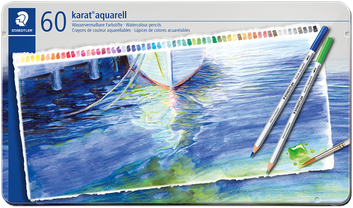 Staedtler Karat Aquarell Watercolour Pencils - Assorted Colours (Tin of 60)