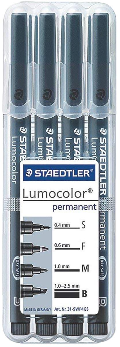 Staedtler Lumocolor Permanent Pen - Assorted Tip Sizes - Black (Pack of 4)