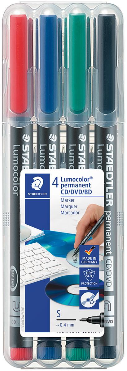 Staedtler Lumocolor Permanent CD/DVD Marker - Assorted Colours (Pack of 4)