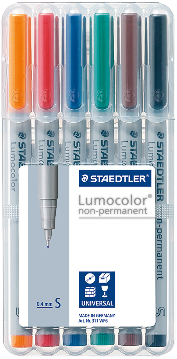 Staedtler Lumocolor Nonpermanent Pens - Superfine - Assorted Colours (Pack of 6)