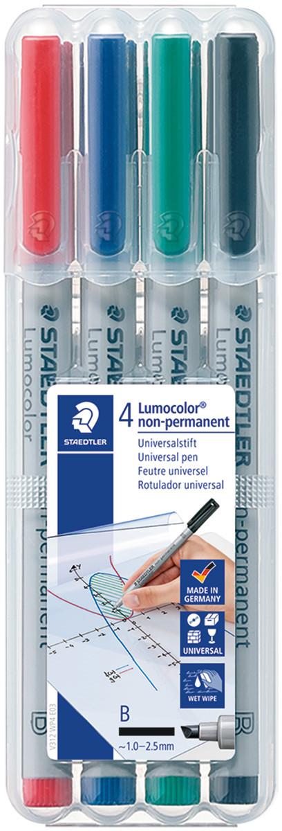 Staedtler Lumocolor Nonpermanent Pen - Broad - Assorted Colours (Pack of 4)